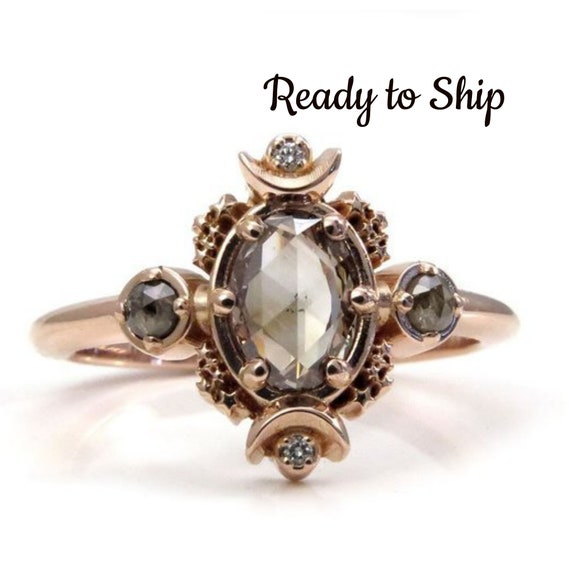 Ready to Ship Size 6 - 8 - Rose Cut Oval Natural Champagne Diamond Moon Engagement Ring with Rose Gold Stardust