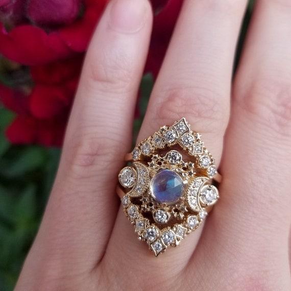 Rainbow Moonstone Cosmos Engagement Ring Set - Diamond Celestial Wedding Set - 14k Yellow Gold