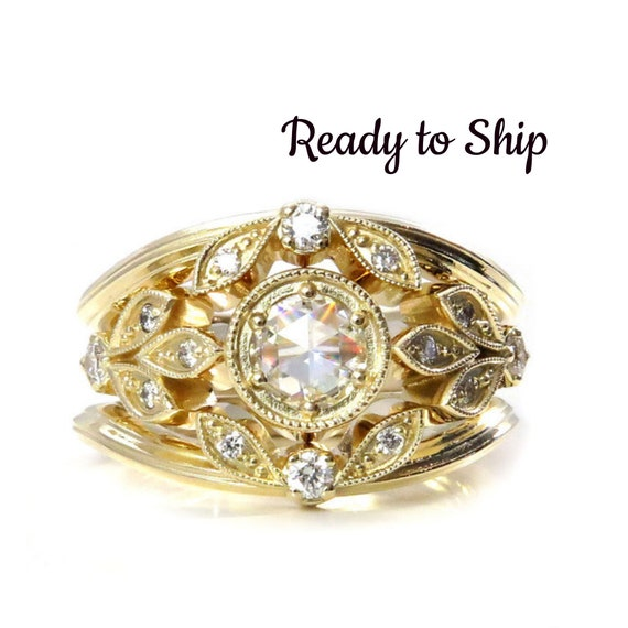 Ready to Ship Size 5- 7 - Victorian Diamond Leaf Engagement Ring Set - Moissanite and Diamonds - 14k Yellow Gold