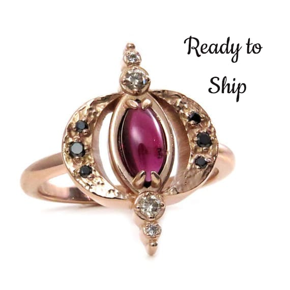 Ready to Ship Size 7-9 - Garnet and Diamond Double Crescent Moon Ring - 14k Rose Gold - Gothic Engagement Ring