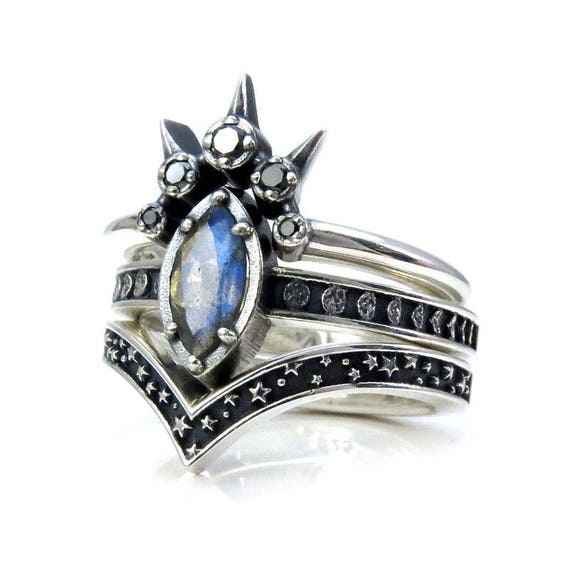 Labradorite Marquise Moon and Star Engagement Ring Set - Celestial Gothic Wedding Rings - Sterling Silver