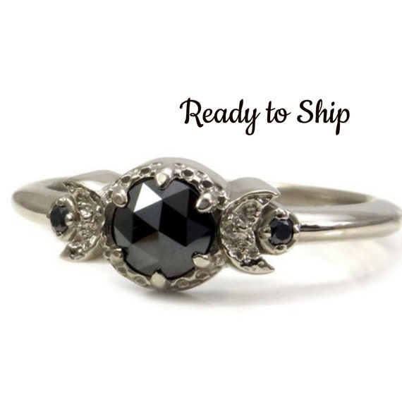 Ready to Ship Size 7 - 9 - Gothic New Moon Engagement Ring with Rose Cut Black Diamond - White Gold