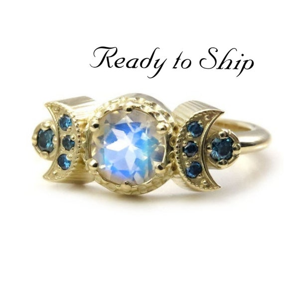 Ready to Ship Size 6 - 8 - Hecate Moonstone Moon Engagement Ring with Irradiated Blue Diamonds - 14k Yellow Gold
