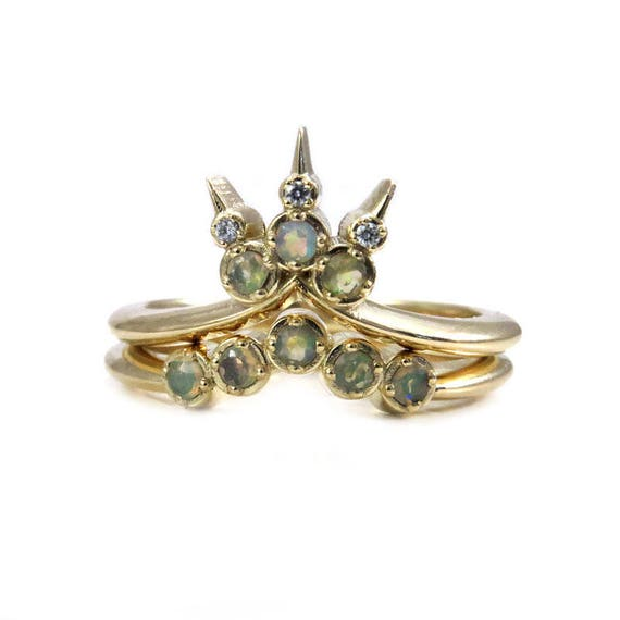 Ready to Ship Size 6-8 - Opal Trident Engagement Ring Set - Stacking Diamond and Opal Bohemian Wedding Rings