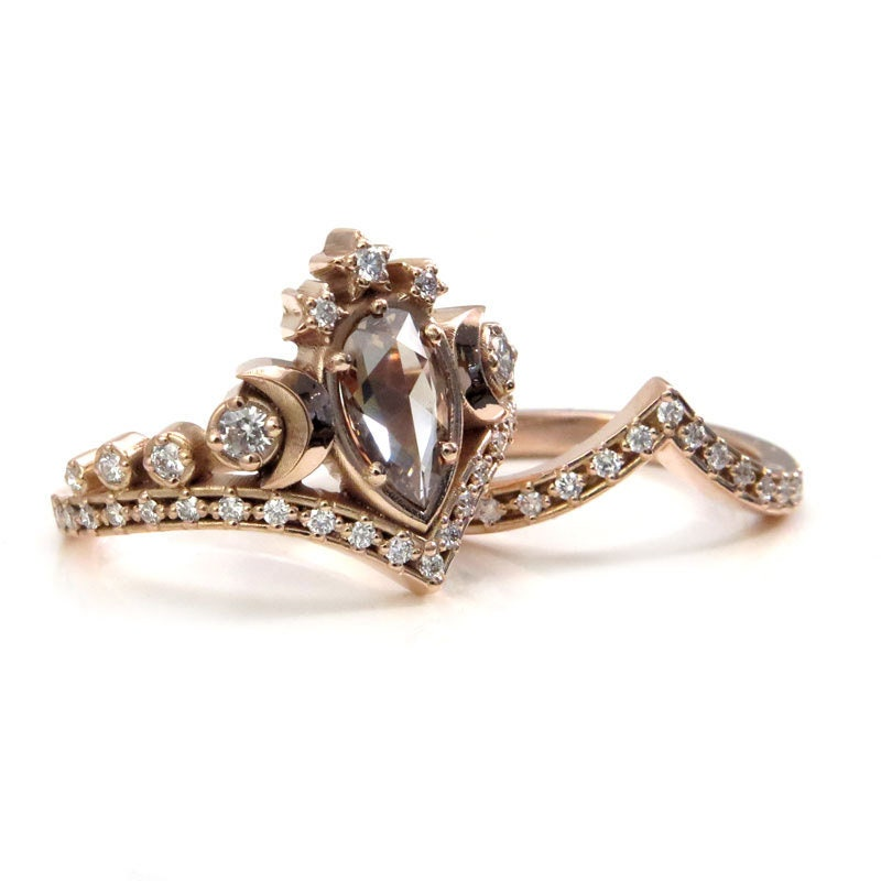 Lunar Priestess Rose Cut Champagne Diamond Engagement Ring