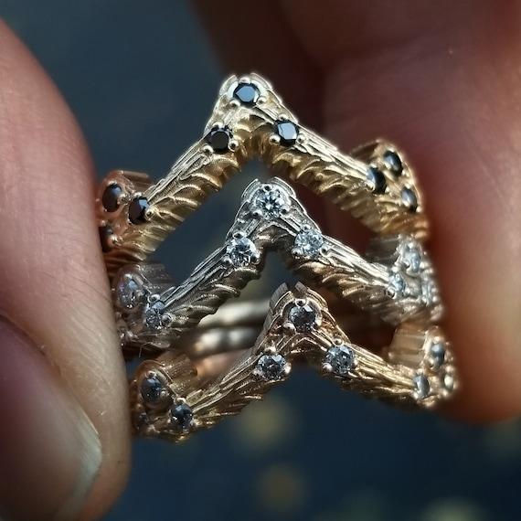 Diamond Mossy Knoll Chevron - 14k Rose, Yellow or Palladium White Gold - Wedding Band - Black, White or Salt & Pepper Diamonds