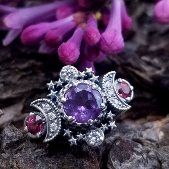 Amethyst & Malaya Garnet Cosmos Moon Engagement Ring with Stardust Chevron Wedding Band and Diamonds