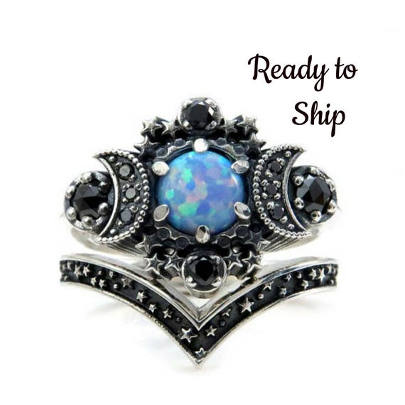 Ready to Ship Size 4 - 6 - Cosmos Moon Ring - Lab Blue Grey Opal with Black Diamonds