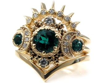 Chatham Emerald & Diamond Cosmos Moon Engagement Ring Set - Celestial Lunar Wedding Rings