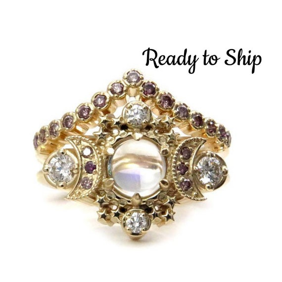 Ready to Ship Size 6-8 -  Purple Moonstone Cosmos Engagement Ring with Irradiated Lavender Diamonds - 14k Yellow Gold - OOAK