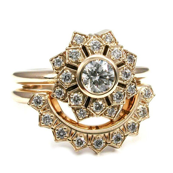 Flower Halo Ring - Art Deco Engagement Ring Set - Diamond or Moissanite and Yellow Gold Wedding Set