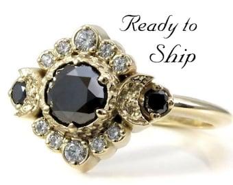 Ready to Ship Size 6 - 8 - Black and White Diamond Engagement Ring - Triple Moon Goddess Boho Wedding - 14k Yellow Gold