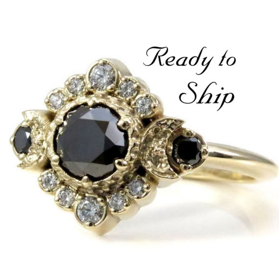 Ready to Ship Size 6 - 8 - Black and White Diamond Engagement Ring - Triple Moon Goddess Boho Wedding - 14k Yellow Gold