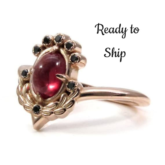 Ready to Ship Size 6-8 - Oregon Sunstone Engagement Ring with Sage Leaves and Black Diamonds