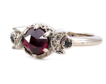 Blood Moon Ring - Garnet and Black Diamond Gothic Celestial Engagement Ring