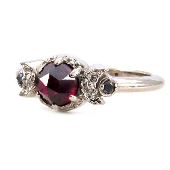 Blood Moon Ring - Garnet and Black Diamond Gothic Celestial Engagement Ring
