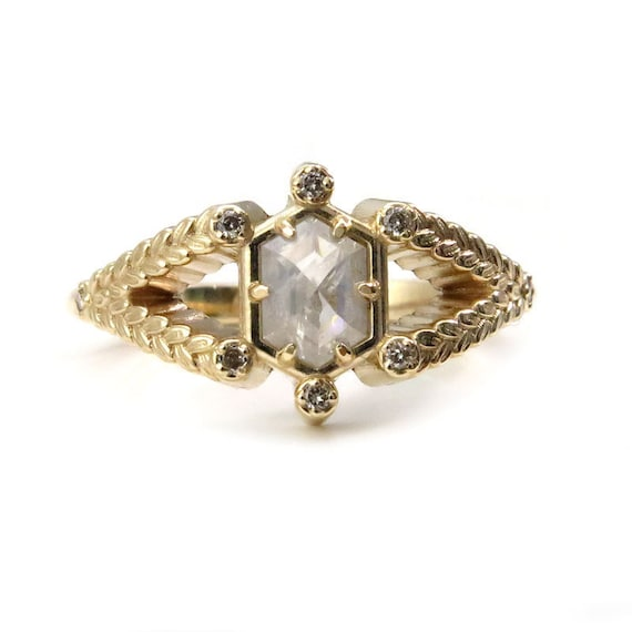 Hexagon Diamon Engagement Ring with Sage Leaf Split Shank and Honey Champagne Diamonds