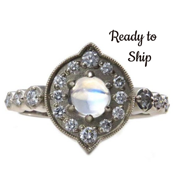 Ready to Ship Size 6 - 8 - Moonstone and Diamond Halo Engagement Ring - Modern Art Deco 14k Yellow, Rose or Palladium White Gold