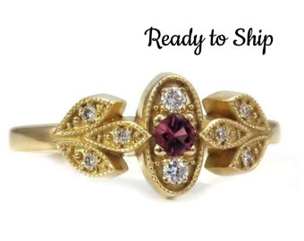 Ready to Ship Size 5-7 - Pink Tourmaline and 14k Yellow Gold Millgrain Leaf Petal ring with Diamonds