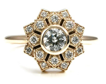 Art Deco Engagement Ring - Petal Double Halo 14k Yellow Gold and Diamond Antique Inspired Wedding Ring