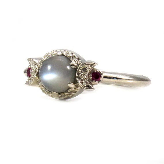 Grey Moonstone and Ruby Triple Moon Goddess Ring - 14k Palladium White Gold Gothic Engagement