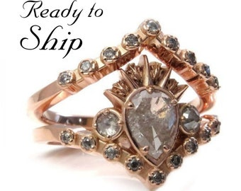 Ready to Ship Size 6 - 8 - Galaxy Diamond Ursula Sea Witch Engagement Ring Set - 14k Rose Gold with Rose Cut Grey and Salt & Pepper Diamonds