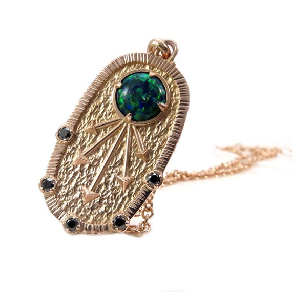 Egyptian Sun Symbol Pendnat - Lab Black Opal with Black Diamonds - 14k Rose Gold - Ready to Ship