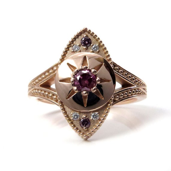 Ready to Ship Size 6 - 8 - The Seer - Irradiated Purple Diamond Evil Eye Ring with White Diamonds and Millgrain - 14k Rose Gold
