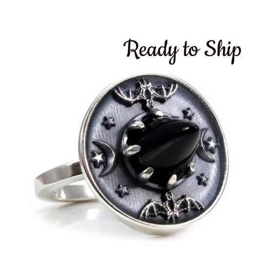 Ready to Ship Size 4-6 - Onyx and Sterling Silver Witch Hat Ring with Bats, Moons and Stars - Limited Edition