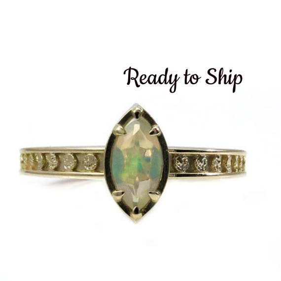 Ready to Ship Size 6-8 Opal Marquise Moon Phase Yellow Gold Solitaire Engagement Ring - Fine Bohemian Jewelry