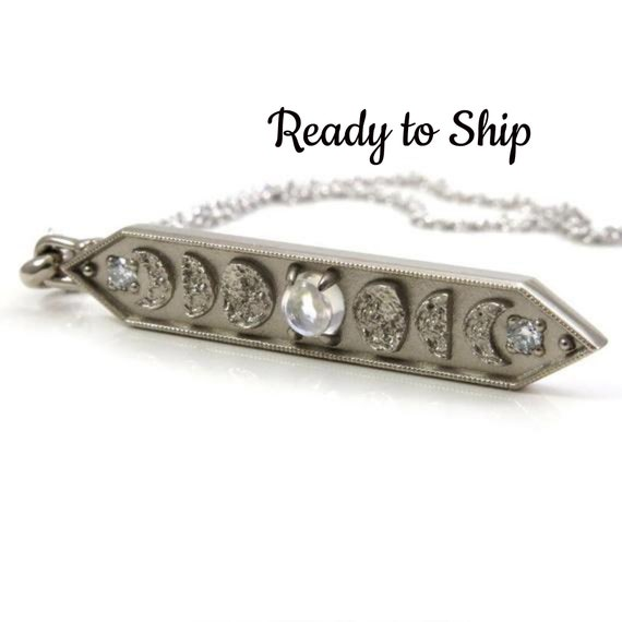 Ready to Ship - Moonstone & Diamond Moon Phase Bar Pendant with Diamonds - 14k Palladium Gold - Celestial Necklace