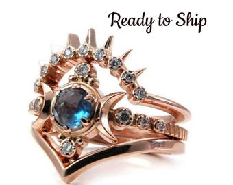 Ready to Ship Size 6 - 8 London Blue Topaz Moon Goddess Engagement Ring Set with Sunray and Chevron Wedding Bands - 14k Rose Gold