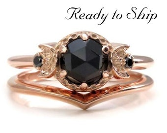 Ready to Ship Size 6 - 8 - Triple Moon Engagement Ring Set - 14k Rose Gold with Black Diamonds and Black Spinel