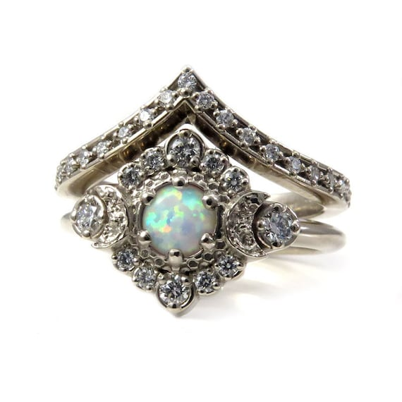 Celestial Bands: Lab Opal Moon Halo Engagement Ring Set Celestial Wedding
