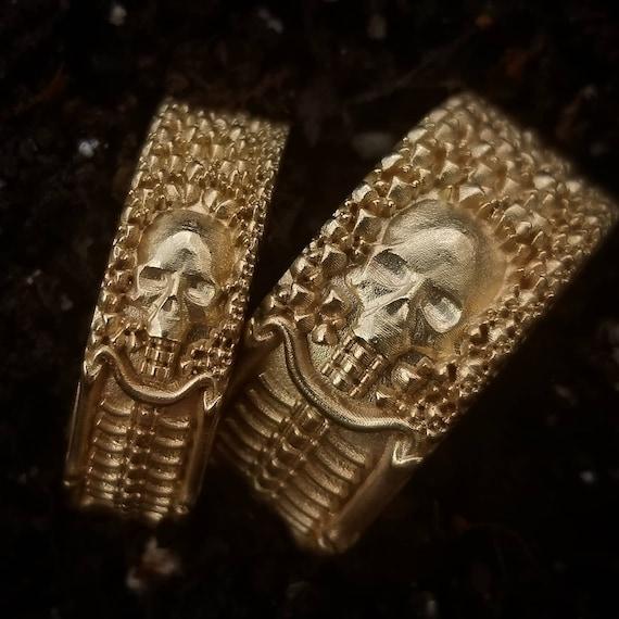 Till Death Do Us Part - His & Hers Skeleton Wedding Band Set - 14k Gold