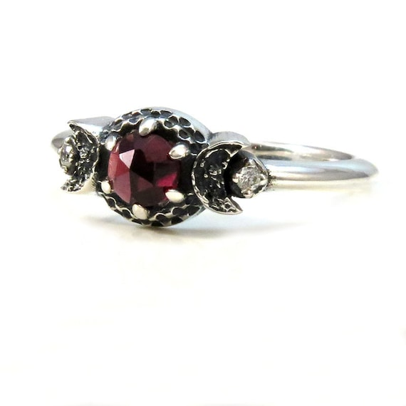 Blood Moon Ring with Diamonds and a Rose Cut Red Garnet - Sterling Silver Promise Ring