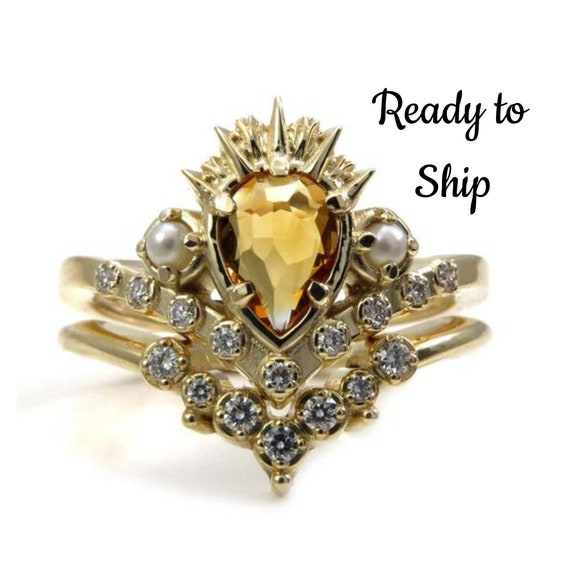 Ready to Ship Size 6-8 - Ursula the Sea Witch Engagement Ring Set - Citrine Pear with Seed Pearls and Diamonds
