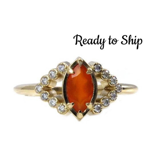 Ready to Ship Size 6-8 - Carnelian and Diamond All Seeing Eye Engagement Ring - 14k Yellow Gold Mystical Bohemian Jewelry