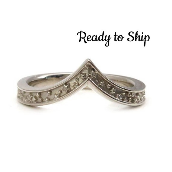Ready to Ship Size 4.5 - 6.5 - Stardust Stacking Chevron Wedding Ring - 14k Palladium Gold
