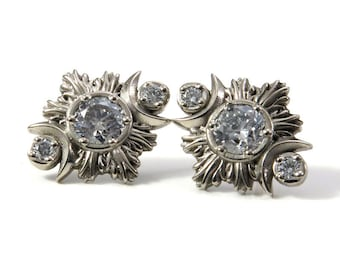 Ready to Ship - Salt & Pepper Diamond Moonfire Post Earrings - Triple Moon Goddess Fine Jewelry