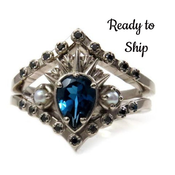 Ready to Ship Size 6 - 8 - Sea Witch Engagement Ring - Ursula - London Blue Topaz with Seed Pearls and Black Diamonds