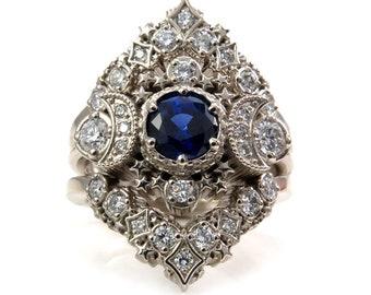 Cosmos Constellation Engagement Ring Set - Chatham Sapphire & Diamonds Celestial Wedding Set - 14k Gold