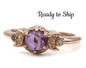 Size 6-8 Ready to Ship - Rose Cut Lab Alexandrite with Black & White Diamonds Rose Gold Engagement Ring