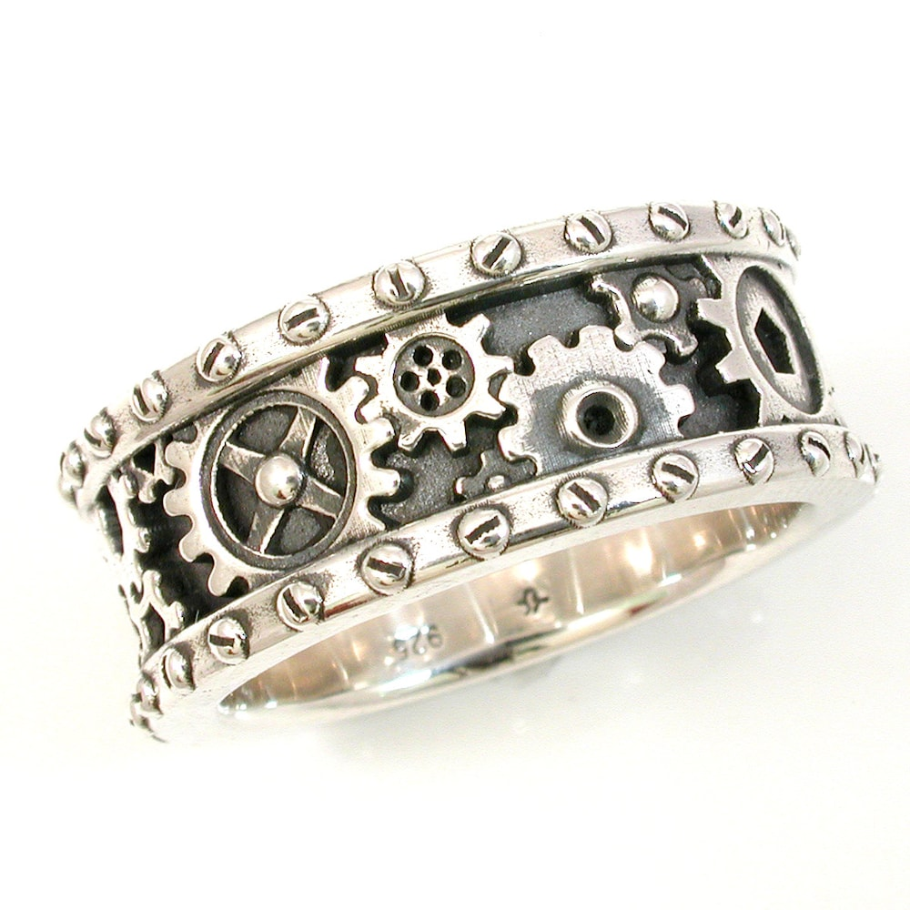 SteamPunk Mens Silver Ring  Gears and Rivets  Industrial image 0
