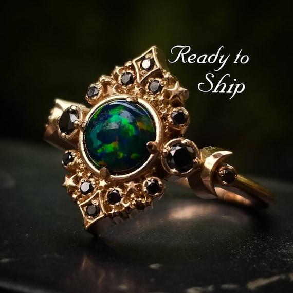 Ready to Ship Size 6 - 8 - Black Lab Opal Galaxie Engagement Ring - 14k Rose Gold - Black Diamond Sides - Boho Moon Wedding Ring