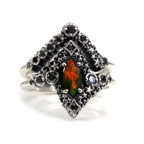 Black Opal Stardust Engagement Ring Set with Black Diamonds - Sterling Silver- Pick Your Center Stone