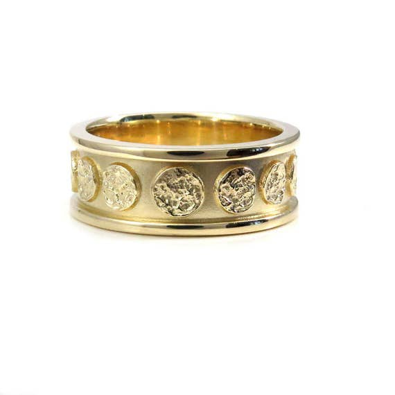 Celestial Bands: Mens Yellow Gold Moon Wedding Band Modern Celestial 8mm Wide