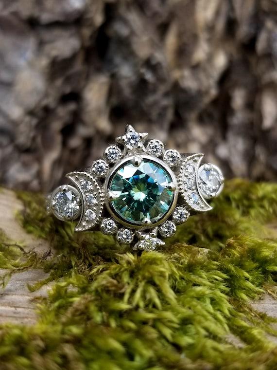 Selene Moon Goddess Engagement Ring - Seafoam Moissanite & Diamond Celestial Wedding Ring -Vintage Inspired White Gold Wedding