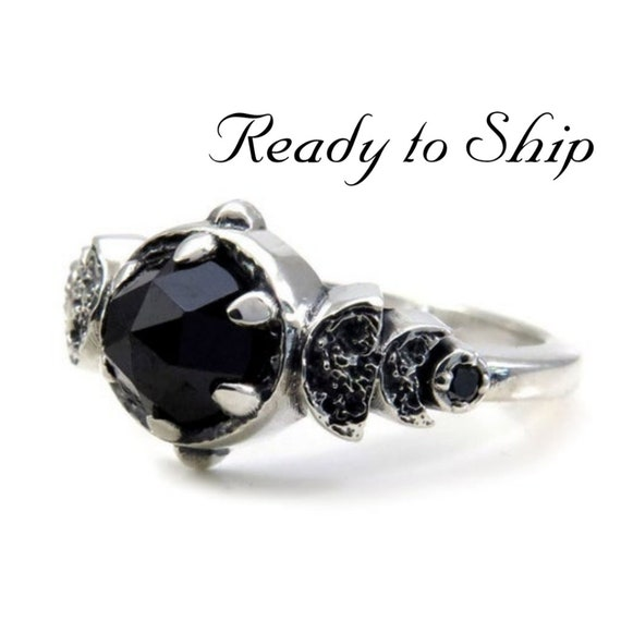 Ready to Ship Size 5 - 7 - Gothic Victorian Crescent and Half Moon Engagement Ring - Rose Cut Black Spinel & Black Diamonds -Sterling Silver
