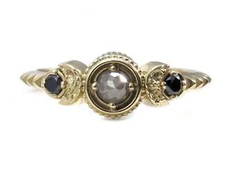 Rose Cut Grey Diamond Petite Moon Engagement Ring with Black Diamond Side Stones - 14k Gold